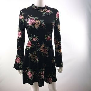 As U Wish Floral Velvet Bell Sleeve A Line Dress